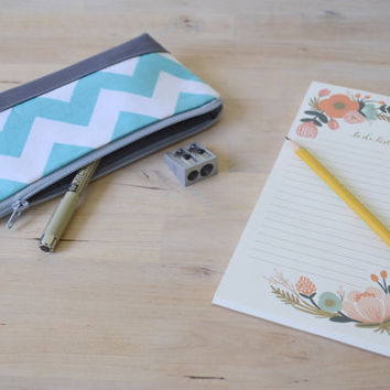 Pencil Case in Sky Blue Chevron