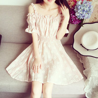 Thin Strap High Waist Cotton Dress