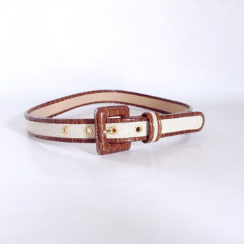 White & Tan Belt | Small - Medium | Square Buckle | Adjustable | Light Brown | Cream | Dress Accessory