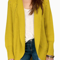 Yellow Collarless Long Sleeve Cut Out Cardigan