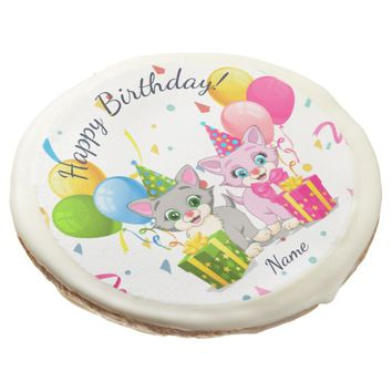 Birthday Cutie Pink and Grey Kitten Cartoons Sugar Cookie