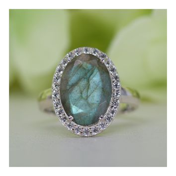 Halo Natural Labradorite with Cubic Zirconia Cocktail Ring in Sterling Silver