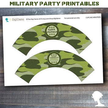 Party Printable Military Army Soldier Boot Camp Cupcake Wrappers in Green Camouflage
