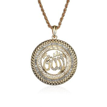 Religious Muslim Jewelry Gold Plated Mohammed Allah Pendant Necklace for Men Women
