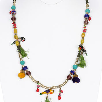 NECKLACE / PARROT / LUCITE BEAD / TASSEL / METAL BEAD / FABRIC / MULTI COLOR / 2 INCH DROP / 32 INCH LONG / NICKEL AND LEAD COMPLIANT