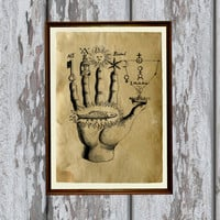 Occult zodiac hand print Antique paper Antiqued decoration
