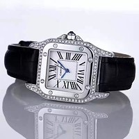 Cartier Fashion Diamonds Leather Quartz Movement Wristwatch Watch