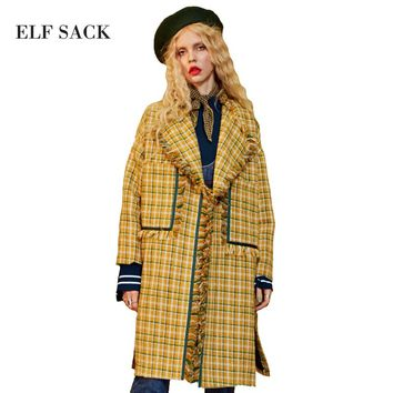 ELF SACK Women Wool Blend Coats British Grid Long Coat Womens Vintage Plaid Pockets Turn Down Collar Elegant Tassel Outerwear