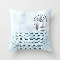 Geometric House by the Sea Throw Pillow by RunnyCustard Illustration