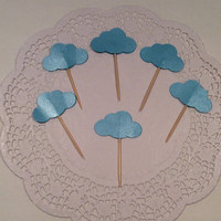Glossy Cloud cupcake toppers.   18 per order. Choose your colors!