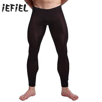 iEFiEL 5 Colors Sexy Men See-through Pants Tights Leggings Trousers Long Johns Underwear U convex pocket mens wrestling singlet