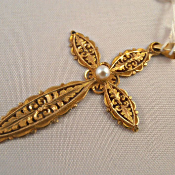 Vintage 18k Yellow Gold Cross Byzantine Style - Free 9k Gold Chain