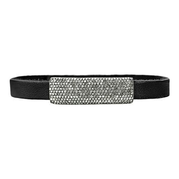 "2.27ct Round Diamonds in 925 Sterling Silver ID in Black Leather Bracelet 7.5"" Adjustable"
