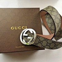New Authentic Gucci Supreme GG Buckle Belt Size 90cm 30-32 Waist