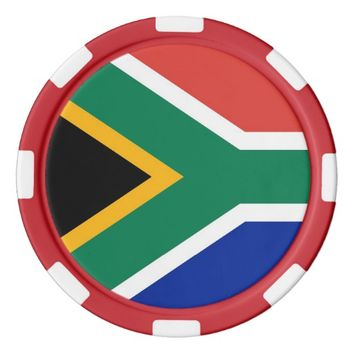 Poker chips with Flag of South Africa