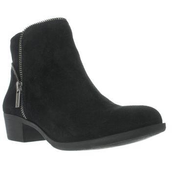 Lucky Brand Boide Zip Accent Ankle Boots, Black, 5 US