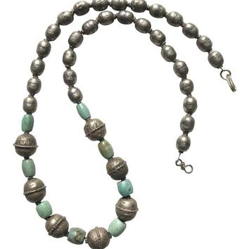 Antique Silver and Turquoise African Necklace