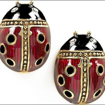 Faberge Egg Ladybug Pierced Post Earrings