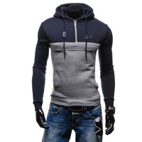 Plus Size Men's Fashion Hoodies Cotton Hats Pullover Patchwork Jacket [10669404163]
