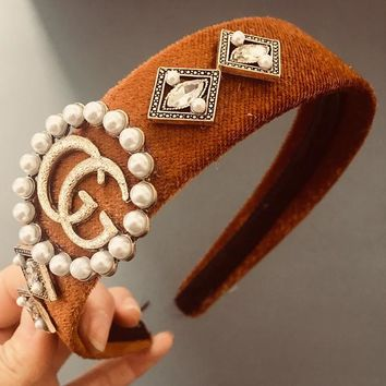 GUCCI Women Accessory Diamond Pearl Fashion Hair Bands Headwrap Headband