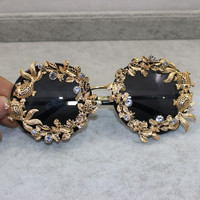 Vintage Butterfly Floral Mirror Sunglasses [6049497857]