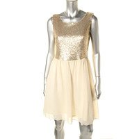 Maison Jules Womens Chiffon Sequined Semi-Formal Dress