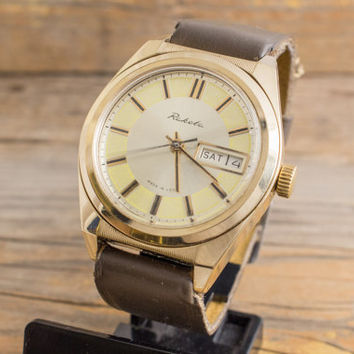 Vintage Raketa mens watch gold plated russian watch, day date, ussr ccp soviet watch