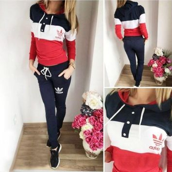 """Adidas"" Women Casual Multicolor Clover Letter Print Hooded Long Sleeve Sweater Set Two-Piece Sportswear"