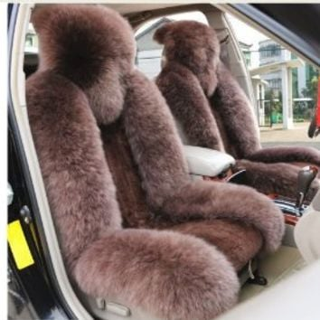 Wholeset Sheepskin Car Seat Covers Rearview Cover Cushion Brown Color Front
