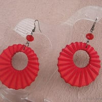 Big ring earrings in red Large red ring earrings Huge red hoop earrings Boho chic jewelry Statement hoop earrings in red