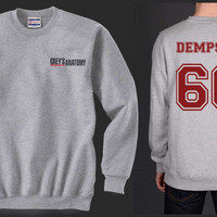 Dempsey 66 Maroon Ink on Back Greys Anatomy Logo Pocket on Front Unisex Crewneck Sweatshirt