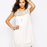 Pull&Bear Crochet Cheesecloth Smock Dress