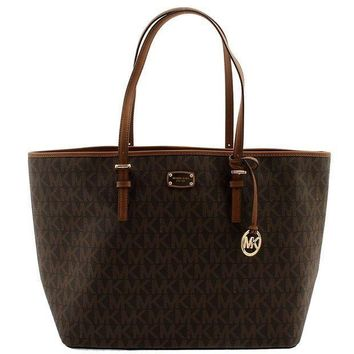 Michael Kors Jet Set Signature Carryall Pvc Large Tote Shopper Bag In Brown