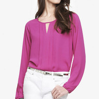KEYHOLE PINTUCKED FRONT BLOUSE from EXPRESS