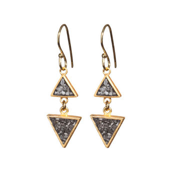 Black Rose Cut Diamond Double Triangle Earrings - Black Rose Cut Earrings - 24k Gold Plated Earrings - 925 Sterling Silver Earrings -