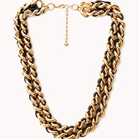 FOREVER 21 Bold Woven Double Chain Choker Black/Gold One