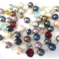 Stunning Genuine Bezel Set Crystal & Pearl Long Beads Necklace