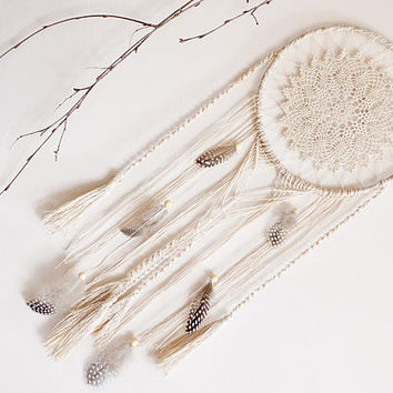 Dream catcher, pastel, cream, neutral, large, wall hanging, handmade, wall decor, dreamcatcher, boho, bohemian, bedroom decor, macrame