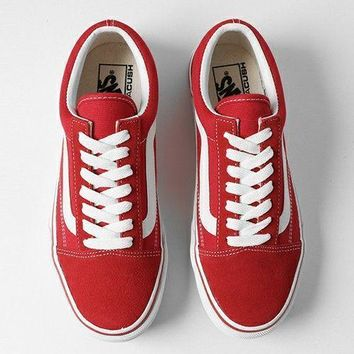 2018 Original Vans Red Canvas Skate Shoes