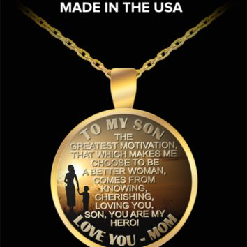 To my son, my hero - Love mom pendant necklace