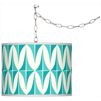 Swag Style Retro Giclee Shade Plug-In Pendant Chandelier