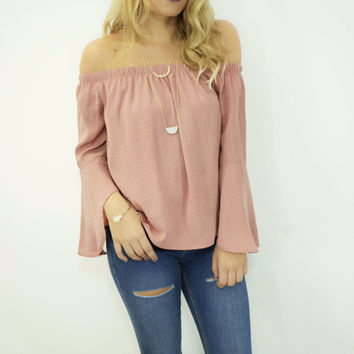 Bourbon Dark Rose Off Shoulder Top