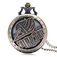 Vintage Animate Fairy Tail Pattern Pocket Watch Hollow Natus Dragneel Design Vintage Quartz Fob Watch With Necklace Chain P1046