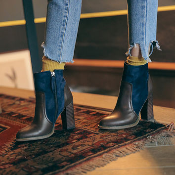 Paneled Stack Heel Ankle Boots