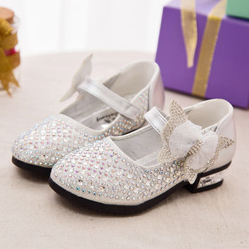 Girls summer sandals low-heeled rhinestone shoes Spring and Autumn 2016 new children's princess shoes bow shoes