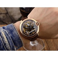 PEAP C027 Cartier Pirate Skull Hollow Automatic Machinery Leather Watchand Watches Black Rose Gold White