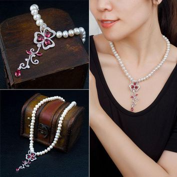 CREYUG3 Stylish Shiny Jewelry New Arrival Gift Pearls 925 Silver Crystal Accessory Necklace [4914841412]