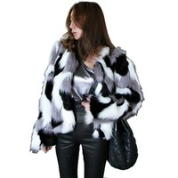 Winter Women Chic Bomber Faux Fur Coat camouflage color Mink Fur Jacket Streetwear Hit Color O-Neck Outwear High waist Cardigan
