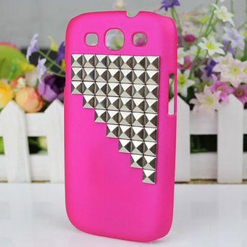 Plum Purple Hard Shell And Silver Stud  for Samsung Galaxy S3 i9300