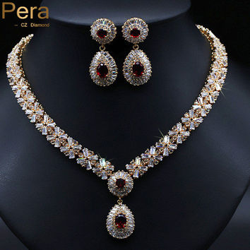 18K Real Gold Filled Nigerian Wedding African Costume Statement CZ Diamond Jewelry Sets With Ruby Crystal Stone J060